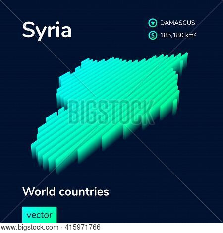 Stylized Neon Simple Digital Isometric Striped Vector Syria Map, With 3d Effect.  Map Of Syria Is In
