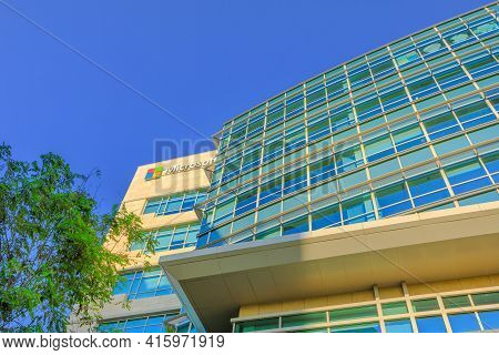 Sunnyvale, Ca, Usa - August 13, 2018: Modern Architecture Of Microsoft Corporation. Microsoft Is One