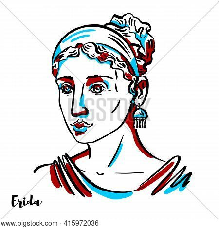 Erida Engraved Vector Portrait With Ink Contours On White Background. She Is The Greek Goddess Of St