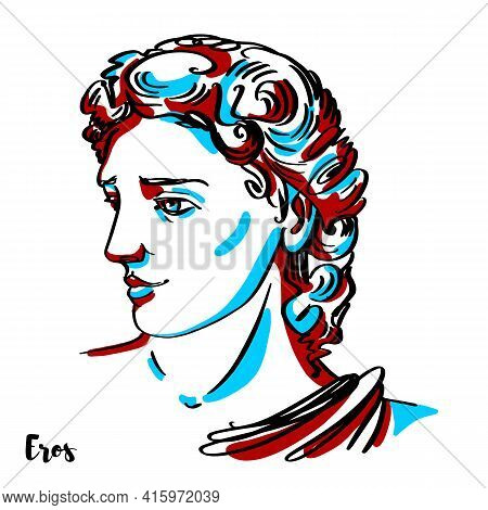 Eros Engraved Vector Portrait With Ink Contours On White Background. In Greek Mythology, Eros Is The