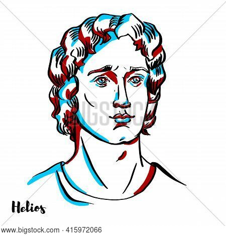 Helios Engraved Vector Portrait With Ink Contours On White Background.helios, Also Helius In Ancient