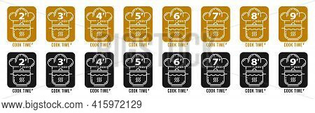 Stamps For Product Packaging. Recommended Cooking Times For Pasta And Other Food Products. Flat Icon