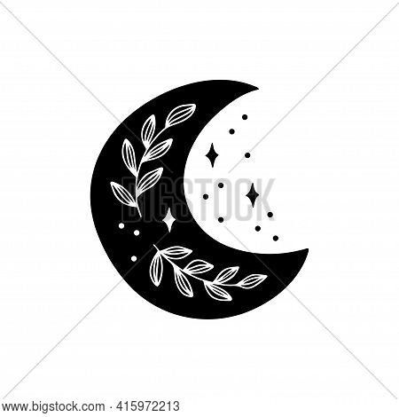 Boho Vector Illustration With Black Crescent Moon, Brunch. Contemporary Art. Celestial T Shirt Print