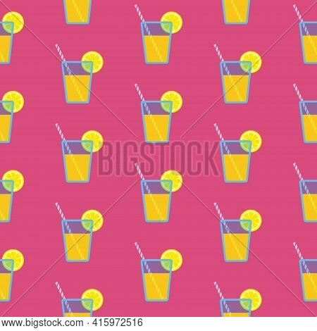 Lemonade In Blue Glass With Striped Straw And Slice Of Lemon, Seamless Pattern On Ruby Background