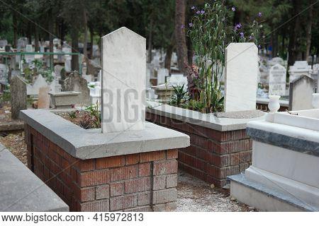 Muslim Graveyard Background. Muslim Cemetery. Turkey, Europe.