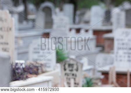 Blurred Muslim Graveyard Background. Muslim Cemetery Background.