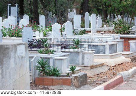 Islamic Graveyard Background. Muslim Cemetery. Turkey, Europe.