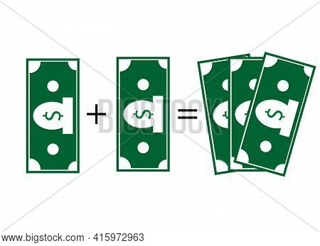 Dollar Plus Dollar Equals Three Dollars. Vector Drawing On A White Background. Investments And Augme