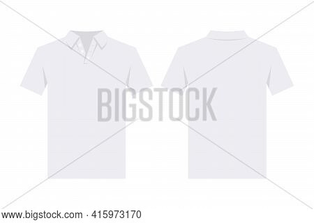 White Polo Shirt Design Template, From Two Sides. Front And Back Side Views