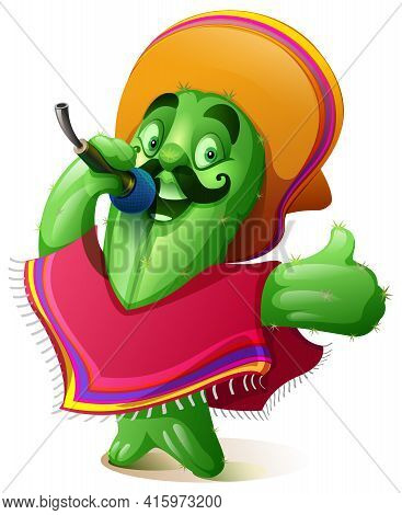 Green Cactus In Traditional Mexican Clothes Poncho And Sombrero Singing Karaoke. Cinco De Mayo Fiest