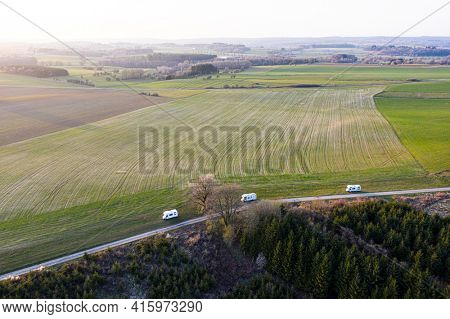 Group of camping-car, in the belgian ardennes