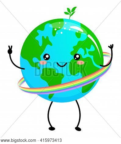 Happy Earth Day - Planet Earth Kawaii Drawing With Rainbow Hola Hoop. Poster Or T-shirt Textile Grap