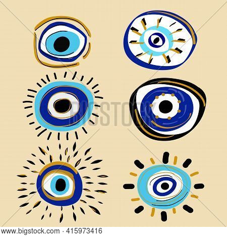 Boho Eyes Set In Linear Style. Mystic Evil Eye. Esoteric Vector Illustration. Evil Eye Pastel Vector