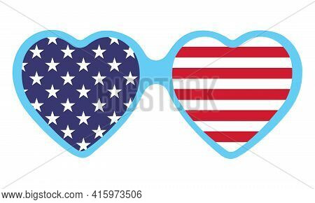Heart Shape Usa Flag - Independence Day Usa With Motivational Text. Good For T-shirts, Happy July 4t