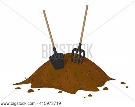 Heap Of Earth, Heap Of Soil. Vector Illustration On White Background. Hayfork In A Pile Of Substrate