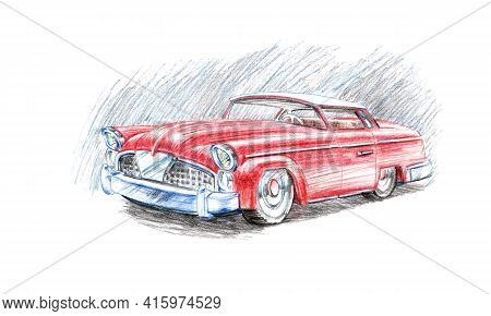 Red Old American Retro Car Of The 50s-60s With Chrome Details, Color Pencils Illustration,  Isolated