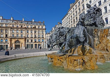 Lyon, France, March 31, 2021 : The Fontaine Bartholdi Was Sculpted By Bartholdi In 1889. It Is Erect