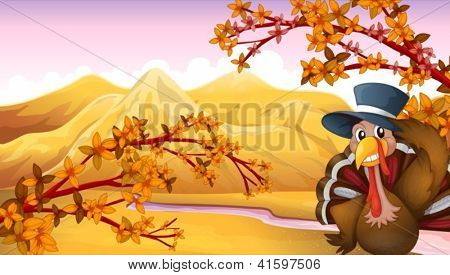 Illustration of a turkey with a hat in the forest