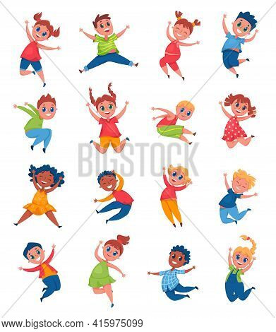 Happy Kids Jumping And Laughing. Cheerful School Girls And Boys Having Fun, Smiling. Joyful Pre Teen