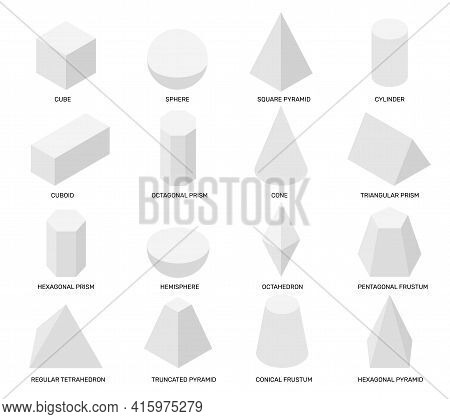 Isometric Shapes. White Isolated Geometric Objects, Math Templates For School Studying And Abstract