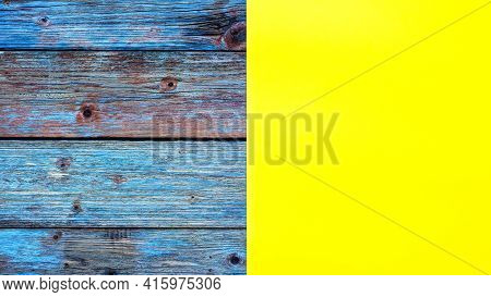 Yellow Cardstock On An Old Wooden Table In Antiqued Pastel Colors. Rustic Wooden Vintage Background.
