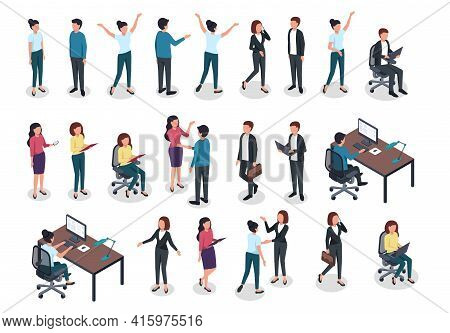 Isometric People. Men And Women In Business And Casual Clothes, Office Worker Various Postures In Wo