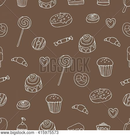 Seamless Pattern With Sweets. White Confectionery On A Brown Background. Vector Doodle Hand Drawn Il