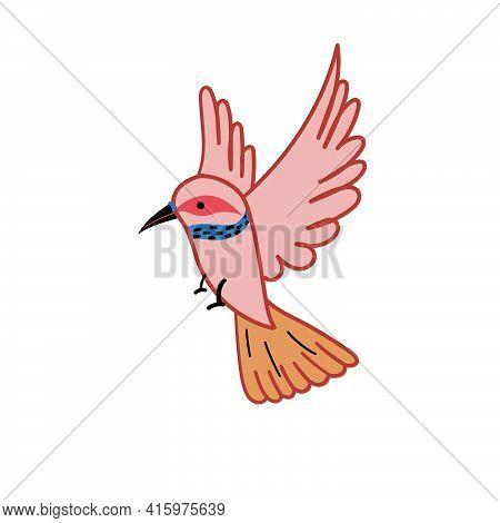 Flat Vector Icon Of Pink Flying Hummingbird