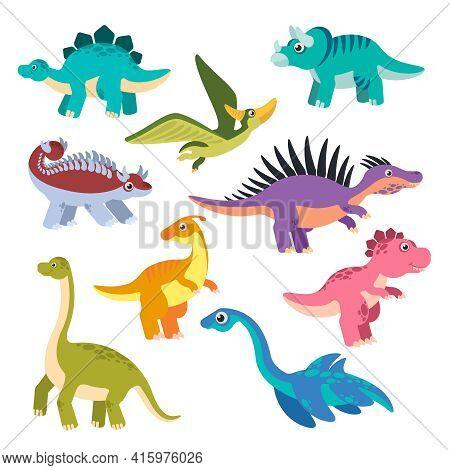 Cute Dino. Cartoon Dinosaurs, Baby Dragons, Prehistoric Monsters. Funny Jurassic Animals Vector Chil