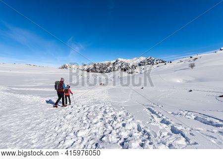 Winter Sports On Lessinia Plateau And The Mountain Range Of Monte Carega (small Dolomites). Malga Sa