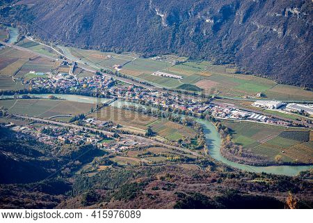 Aerial View Of Adige Valley Or Vallagarina, From The Mountain Peak Of Corno D'aquilio With The Villa
