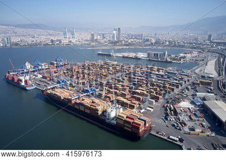 Panoramic View Of Port And Gulf Of Izmir.