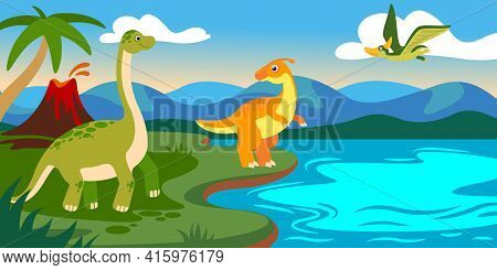 Cute Dinosaurs With Landscape. Cartoon Dino Prehistoric Scene With Lake, Volcano, Mountain And Palm