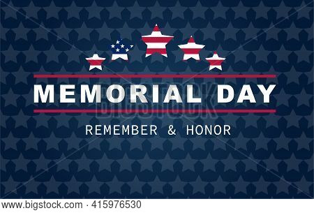 Happy Memorial Day Banner. National American Holiday. Stars In Colors Of American Flag. Vector Backg