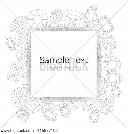 Vector White Template With Geometric Wireframe Black Gem Outline On White Background And Space For T