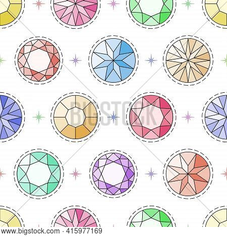 Seamless Pattern With Round-cut Gemstones And Different Colors. Vector Illustration