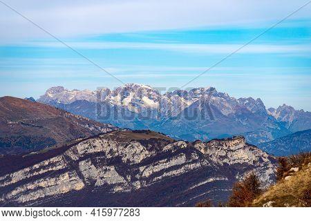 Mountain Range Of The Brenta Dolomites (dolomiti Di Brenta) And The Baldo Mountain (monte Baldo), Fr