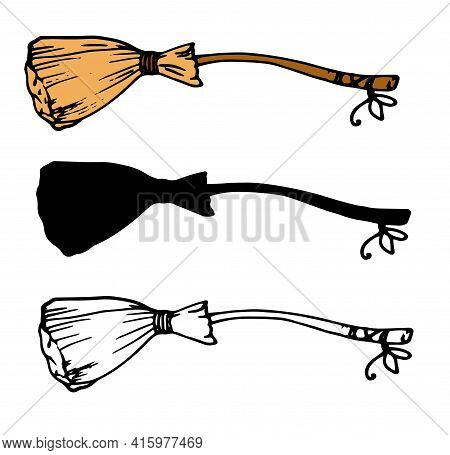 Retro Cartoon Set With Yellow Sketch Broom Bow Set On Black Background For Decorative Design. Hand D