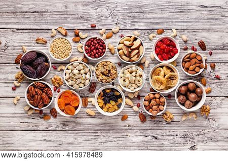 Nuts And Dried Fruits Assortment, Top View.