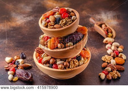 Healthy Snack Of Nuts And Dried Fruit.