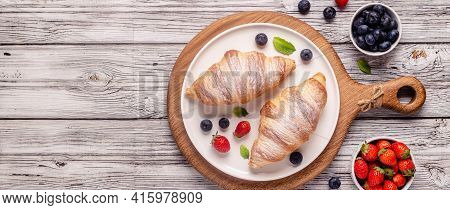 Breakfast With Croissants And Fresh Fruits, Top View.