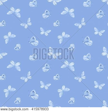 Blue Butterfly Seamless Pattern. Watercolor Butterfly Background