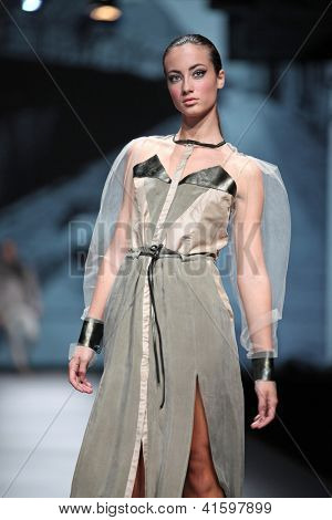 ZAGREB, CROATIA - OCTOBER 18: Fashion model wears clothes made by Jet Lag at 'Croaporter' fashion show, on October 18, 2012 in Zagreb, Croatia.