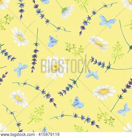 White Daisy Seamless Pattern. Watercolor Butterfly Lavender Background