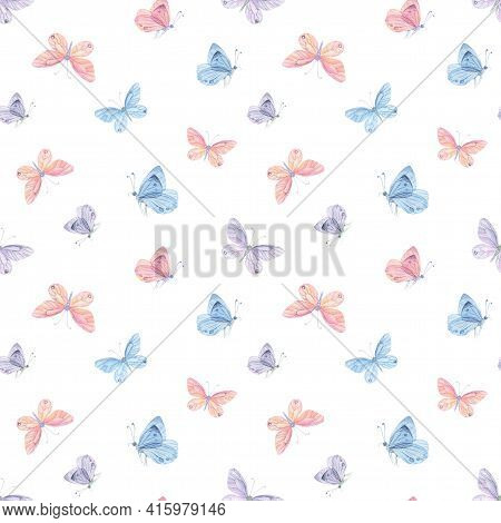 Pink Blue Butterfly Seamless Pattern. Watercolor Butterfly Background