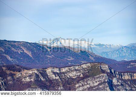 Mountain Range Of The Adamello With The Peak Of Care Alto, And The Baldo Mountain (monte Baldo), Fro
