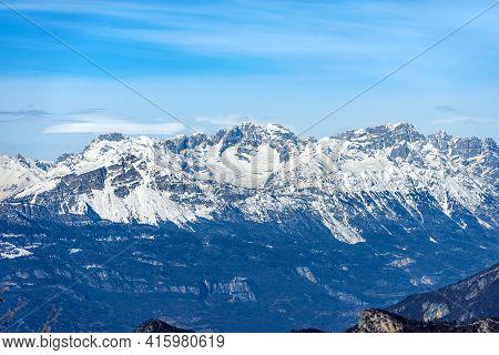 Mountain Range Of The Brenta Dolomites (dolomiti Di Brenta) In Winter, Seen From The Altopiano Della