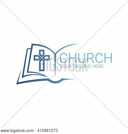 Logo Christian Abstract Cross In The Book. Church Logo.