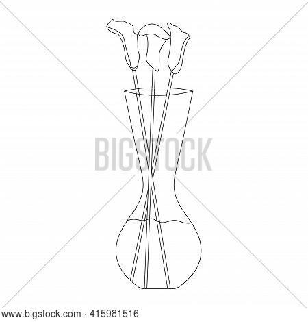 Calla In Vase Vector Background. Floral Vase. Blooming Spring Flower. Illustration Vase With Flower