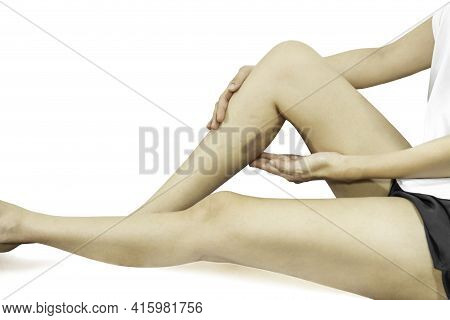 Big Bruised On The Woman Leg Isolated In Clipping Path.